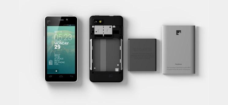 Das Bild zeigt das Fairphone, ein fair produziertes Android Smartphone.