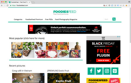Screenshot der Website FoodiesFeed
