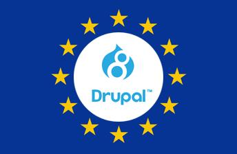 Drupal 8 Logo auf europäischer Flagge