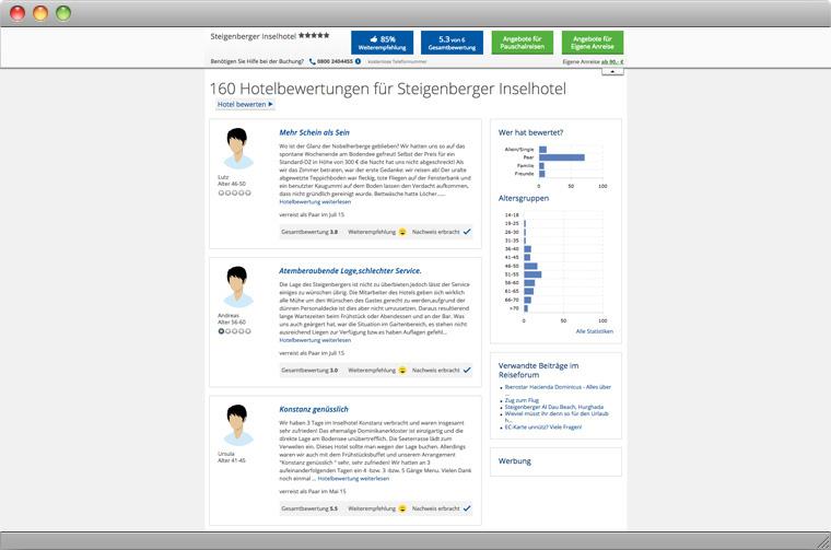 Screenshot von Hotelbewertungen auf der Website der HolidayCheck AG