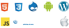 Web Technologie Icons: Html 5, Css 3, Drupal, Android, Wordpress, Adobe Flash, jQuery, Apple
