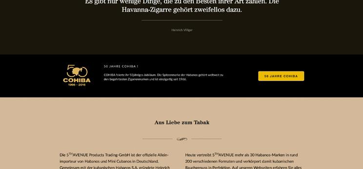 Screenshot animierter Banner für die Cohiba Jubiläums Webpage