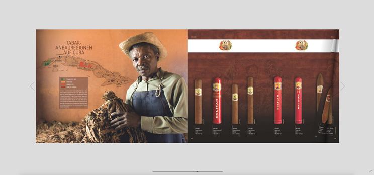 Screenshot Habanos Katalog zum Blättern