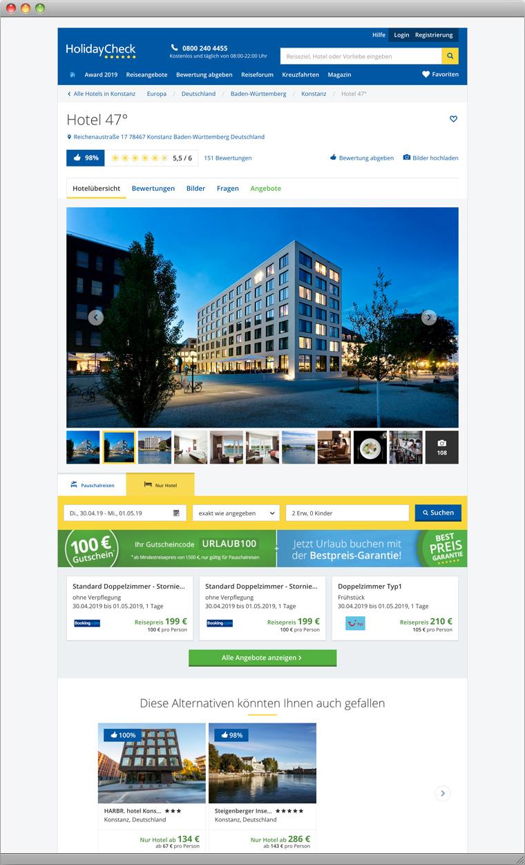 Beispiel Hotel 47° auf der HolidayCheck Website