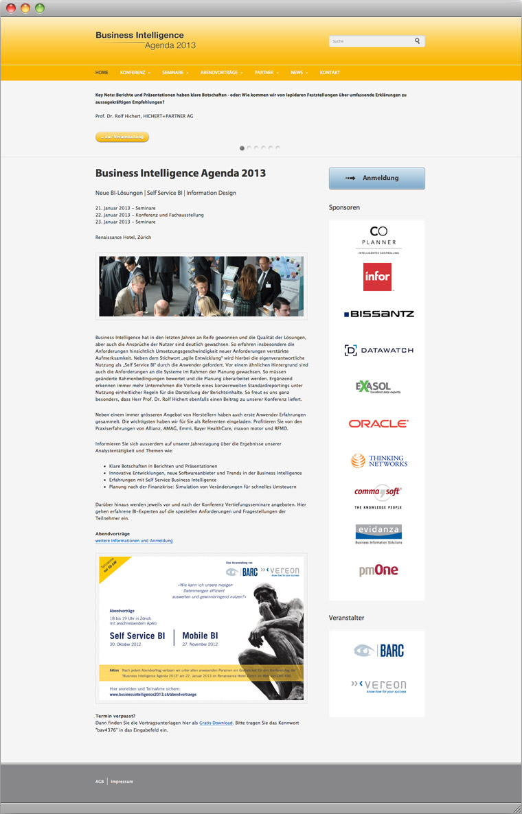 Screenshot Drupal Veranstaltungs-Website Business Intelligence Agenda 2013
