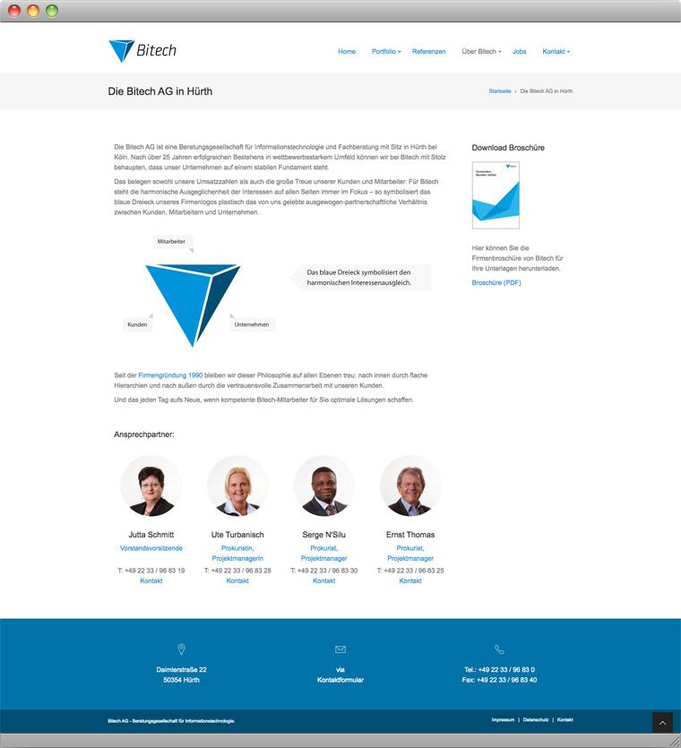Screenshot der About-Seite der Bitech AG Hürth