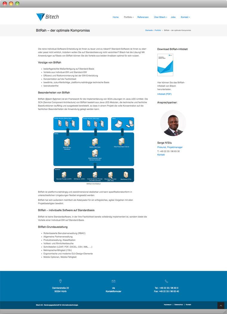 Screenshot der BitRah-Seite der Bitech AG Hürth