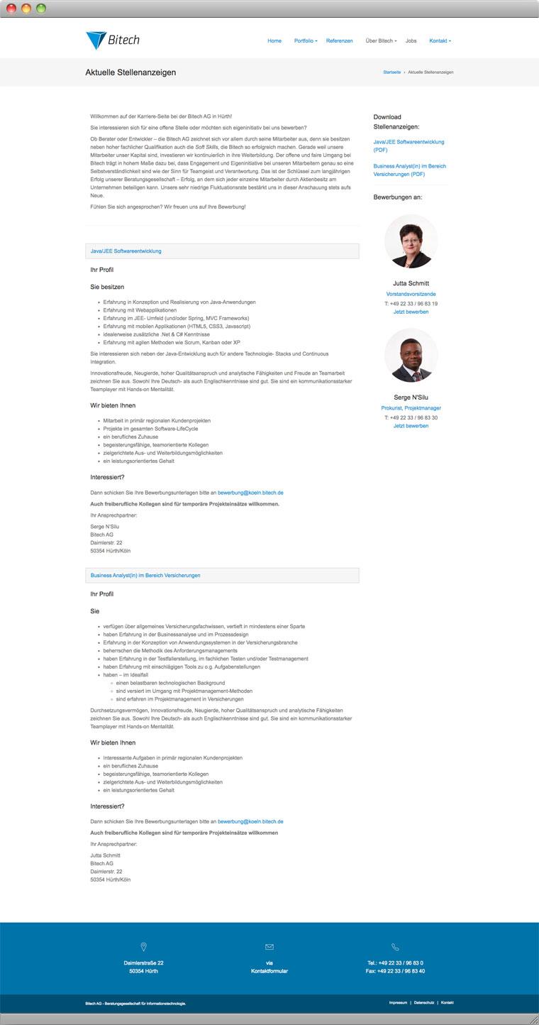 Screenshot der Job-Seite der Bitech AG Hürth