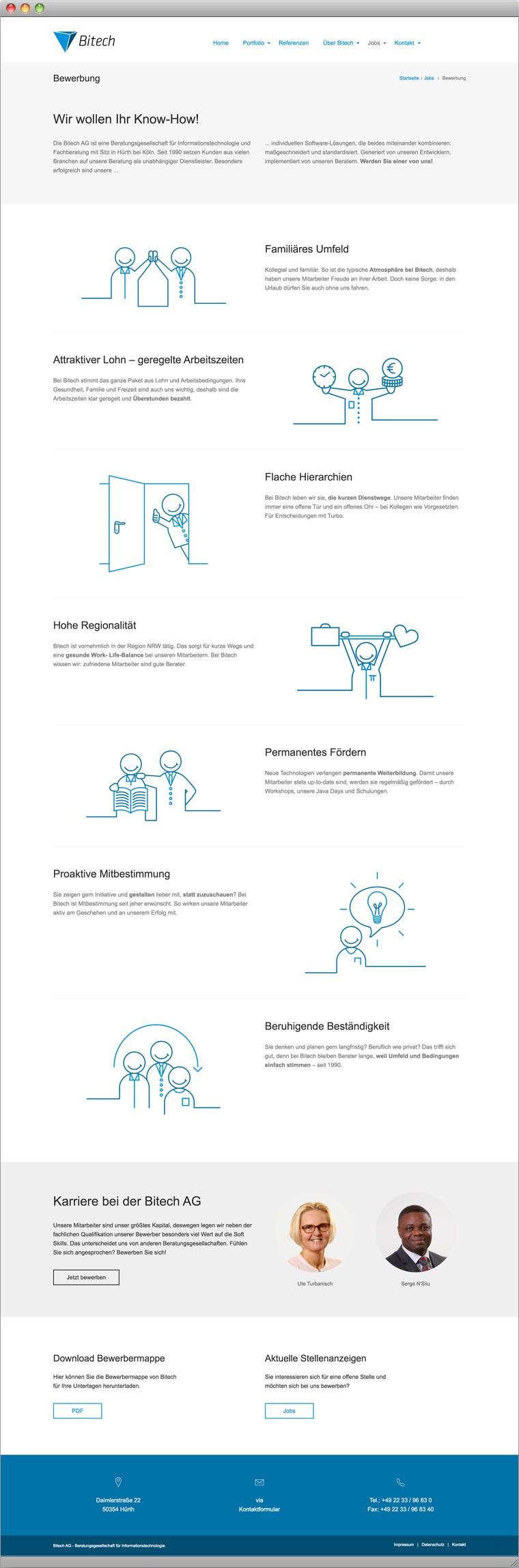 Screenshot Bewerber Landing Page (mit Icons und SVG Animationen)