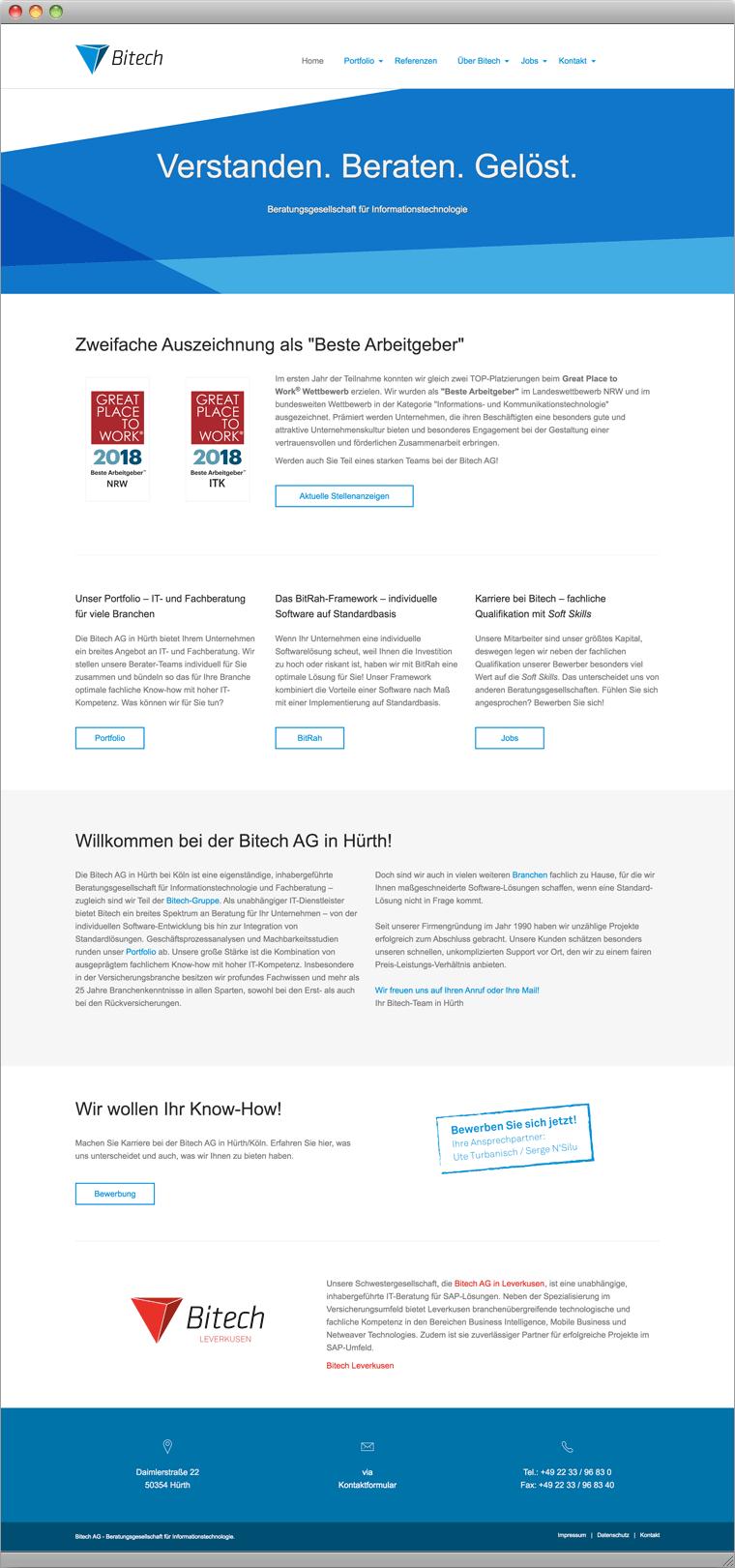 Screenshot Bitech Startseite