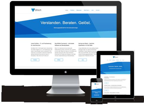 Responsive Webdesign für die Bitech AG: PC, Tablet und Smartphone zeigen die gleiche Website