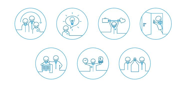 Icons für Einlageblatt der Bewerbermappe