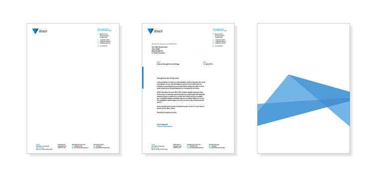 Briefbogen – Corporate Design der Bitech AG Hürth