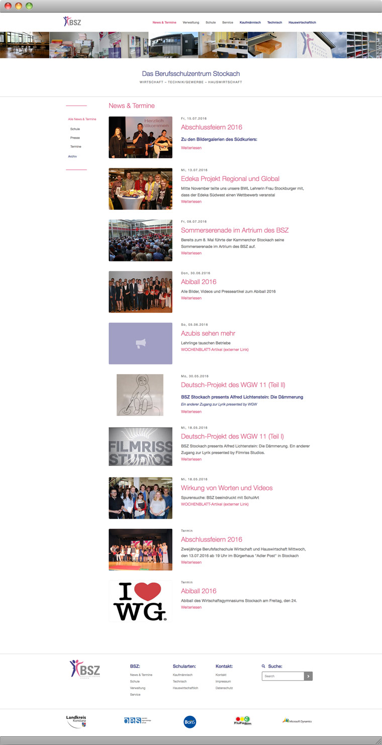 News und Termine BSZ Stockach Website