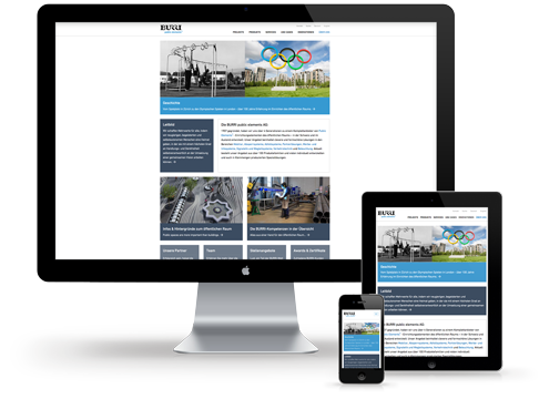 Desktop, Tablett und Smartphone zeigen die gleiche Website: Responsive Webdesign für die Burri public elements AG