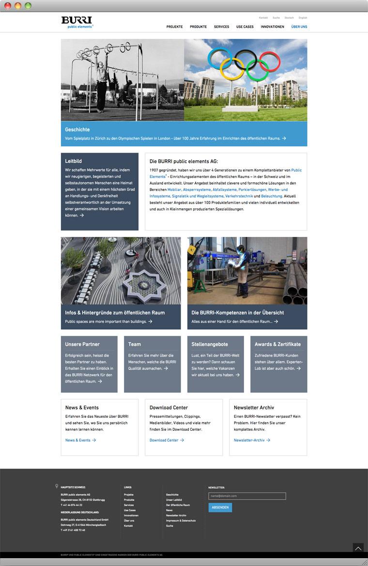 Screenshot Über uns – BURRI public elements AG