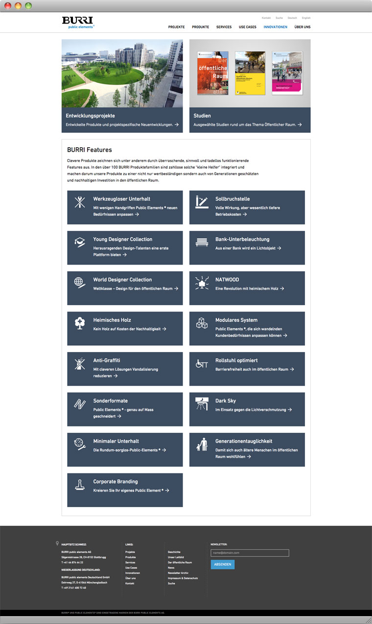 Screenshot Innovationen – BURRI public elements AG