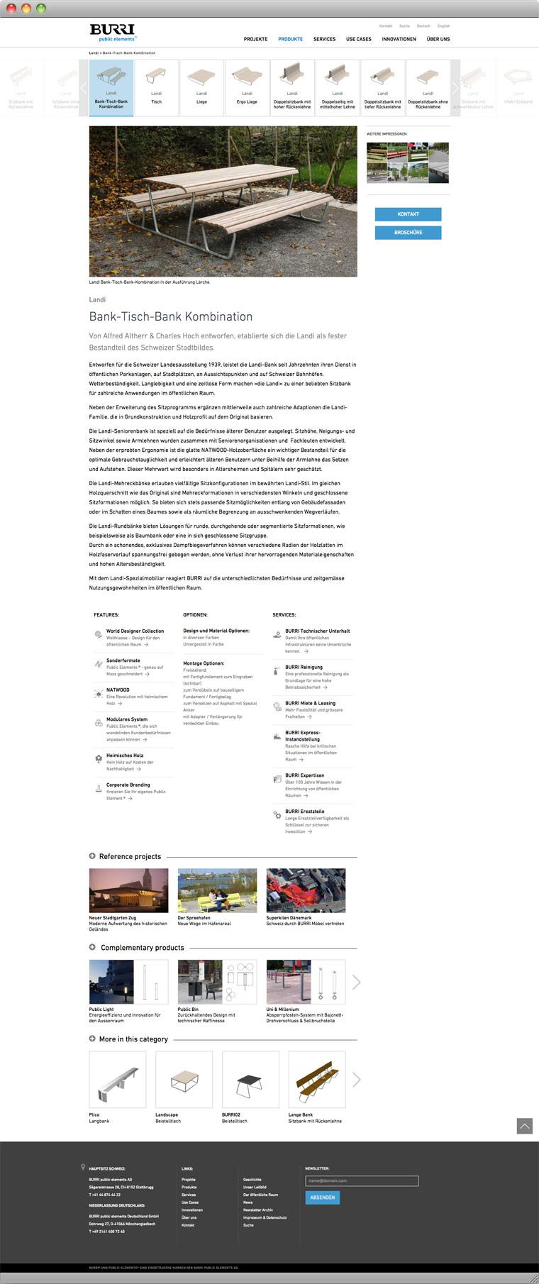 Screenshot Produktseite – BURRI public elements AG