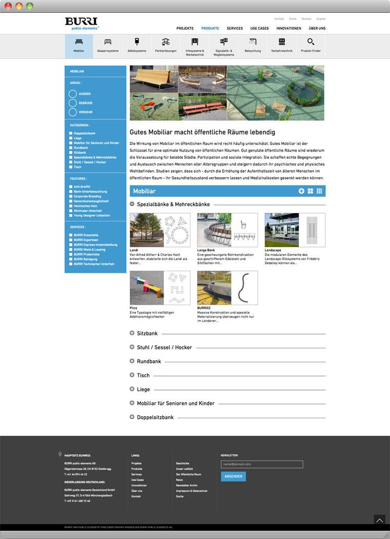 Screenshot Produktgruppe – BURRI public elements AG