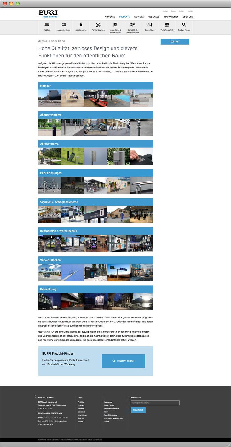 Screenshot Produkte – BURRI public elements AG