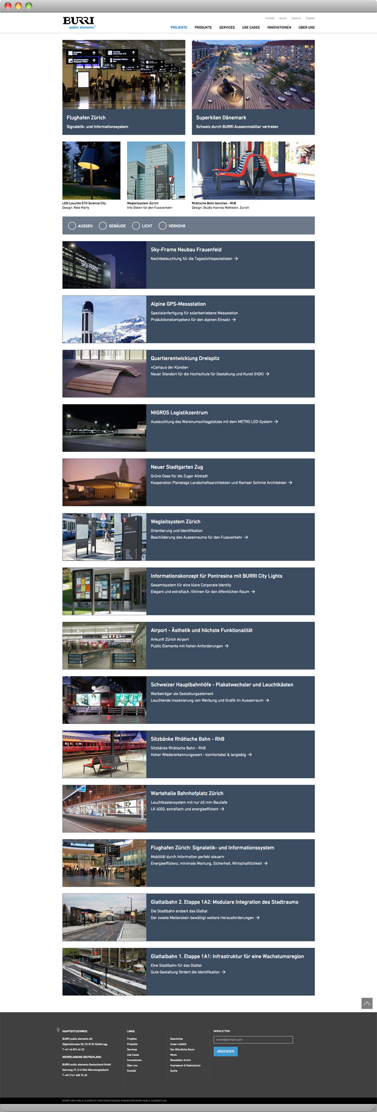 Screenshot Projekte –BURRI public elements AG