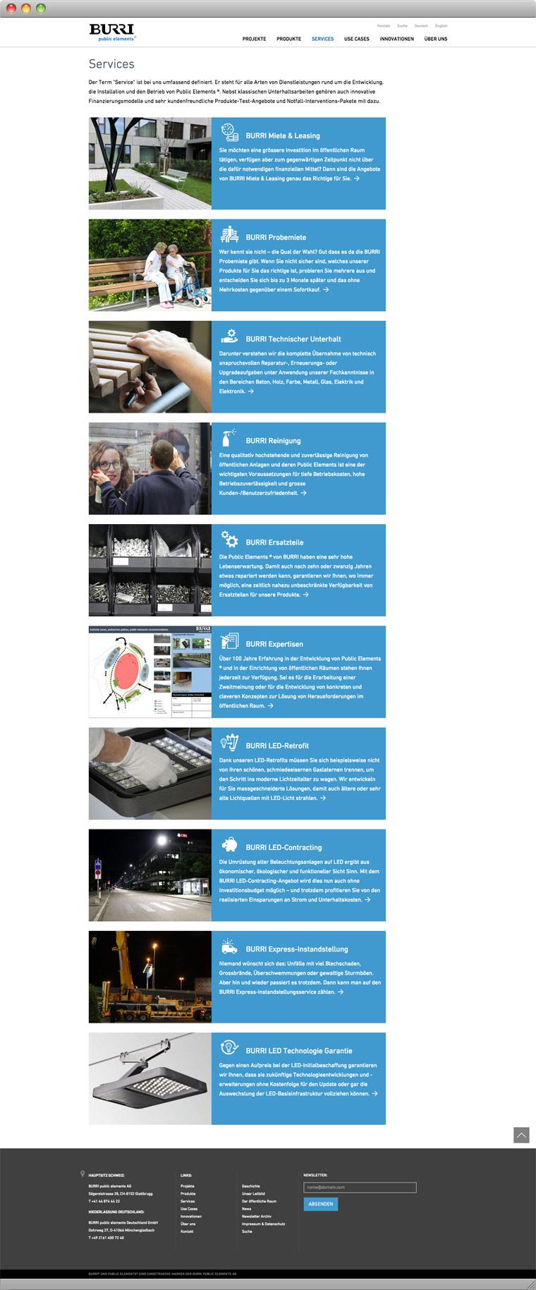 Screenshot Services – BURRI public elements AG