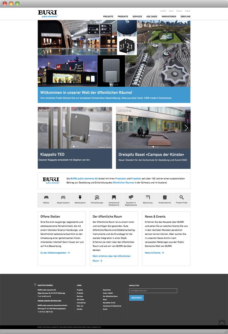 Screenshot Startseite der BURRI public elements AG