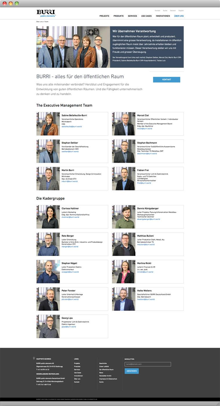 Screenshot Team – BURRI public elements AG