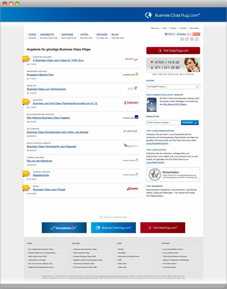 Startseite von BusinessClassFlug.com