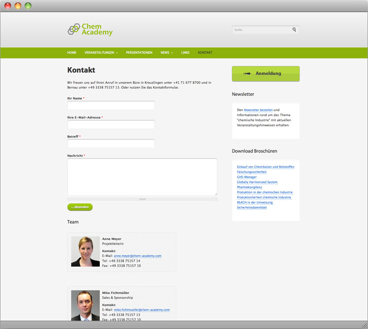 Screenshot Drupal Veranstaltungs-Website Chem-Academy