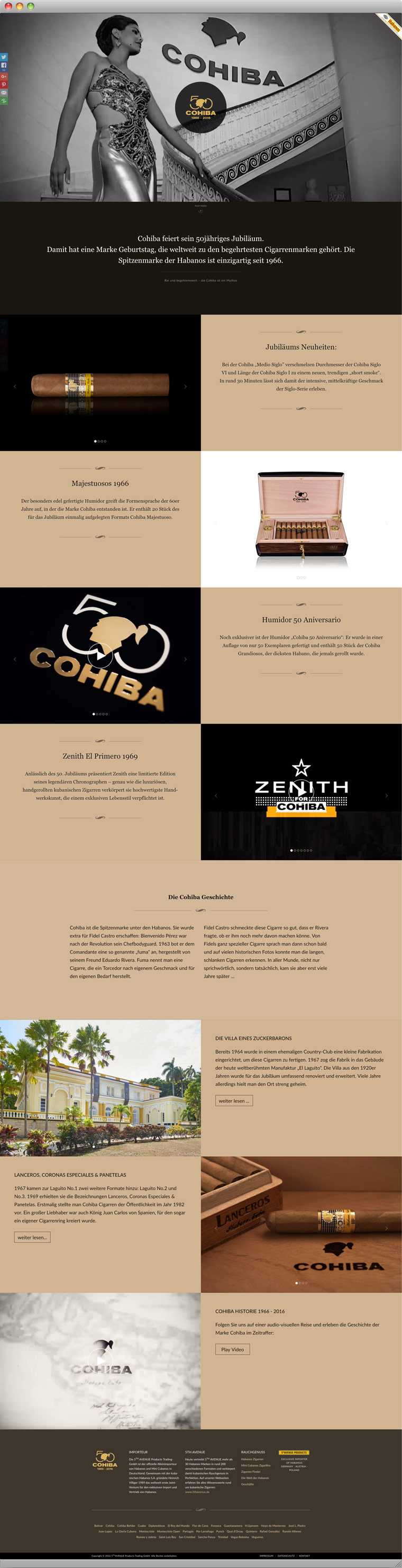 Screenshot Cohiba Jubiläums Landing Page