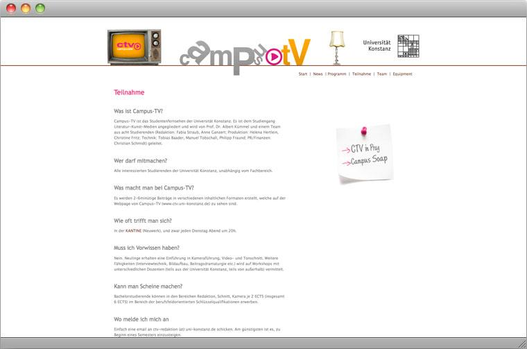 Screenshot Campus TV Unterseite