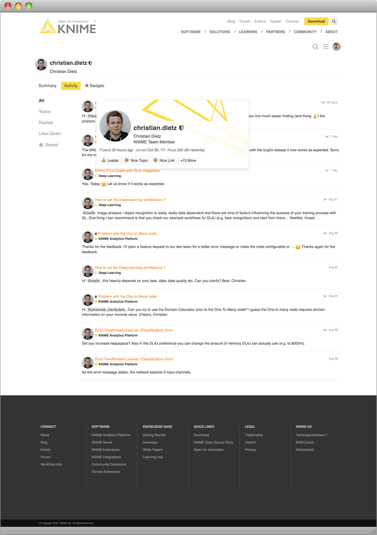 KNIME Community Forum Screenshot
