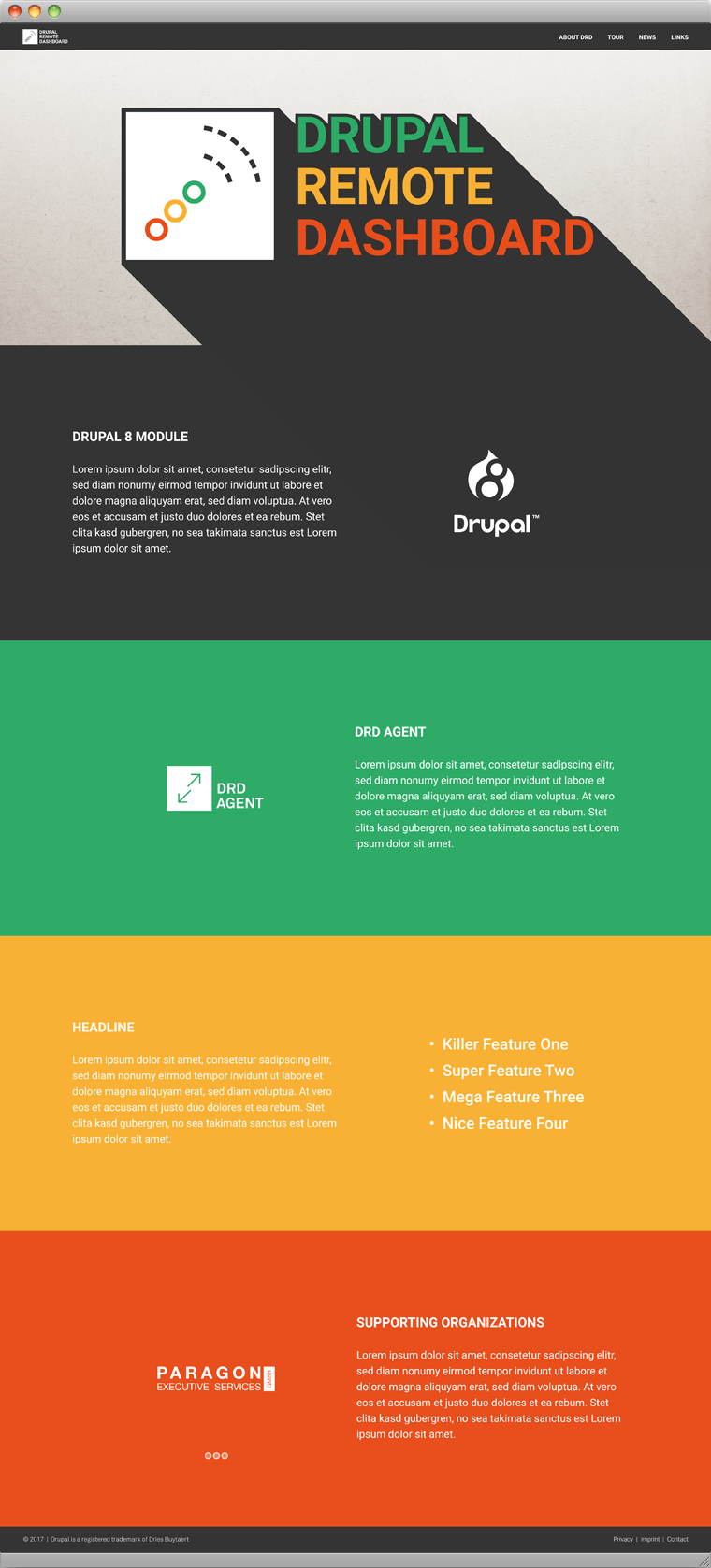Drupal Remote Dashboard One Pager
