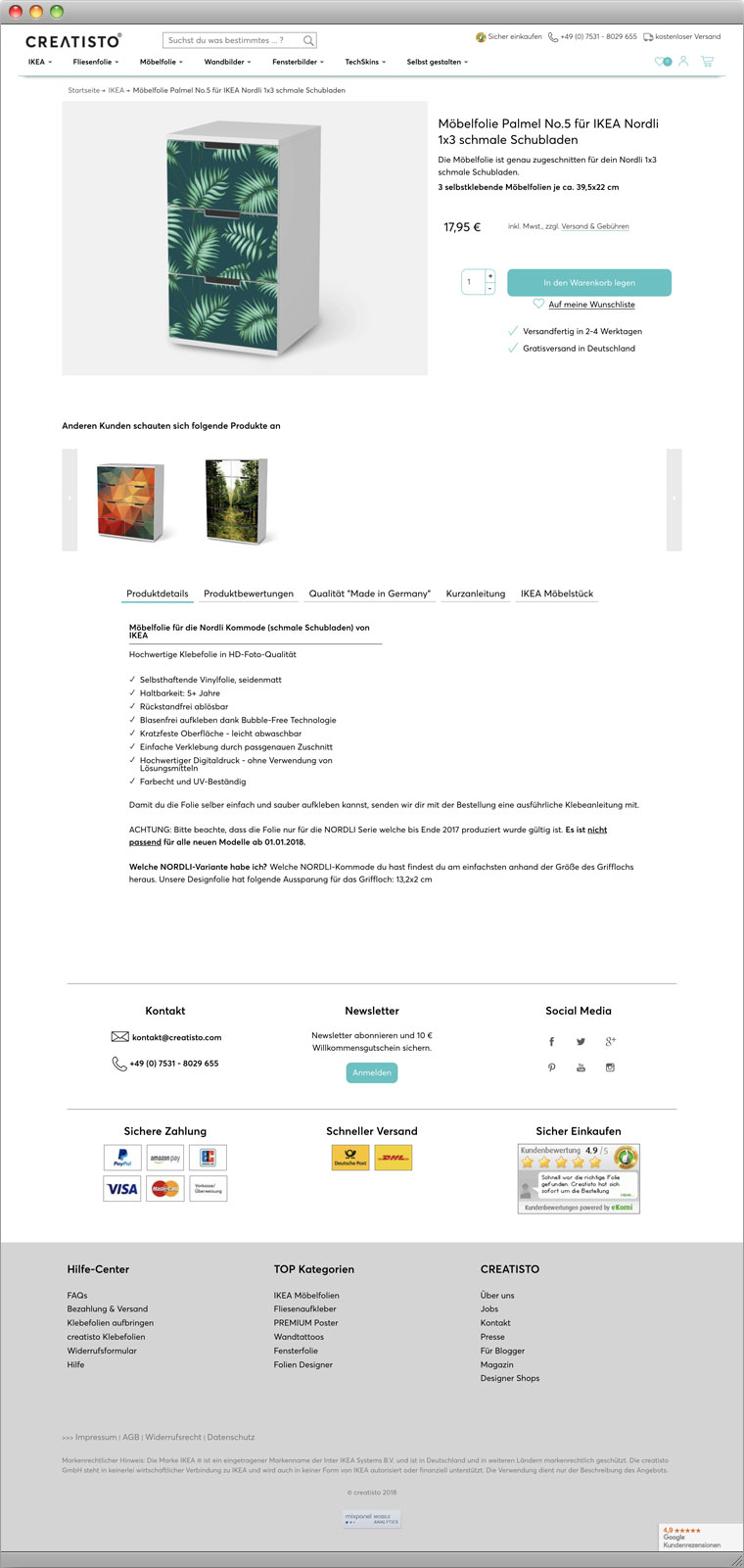 Drupal Commerce Webshop creatisto Screenshot