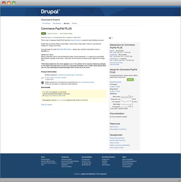 Drupal Modul Commerce PayPal PLUS auf Drupal.org