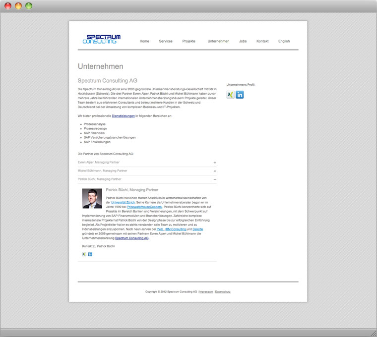Screenshot Drupal Website Spectrum Consulting