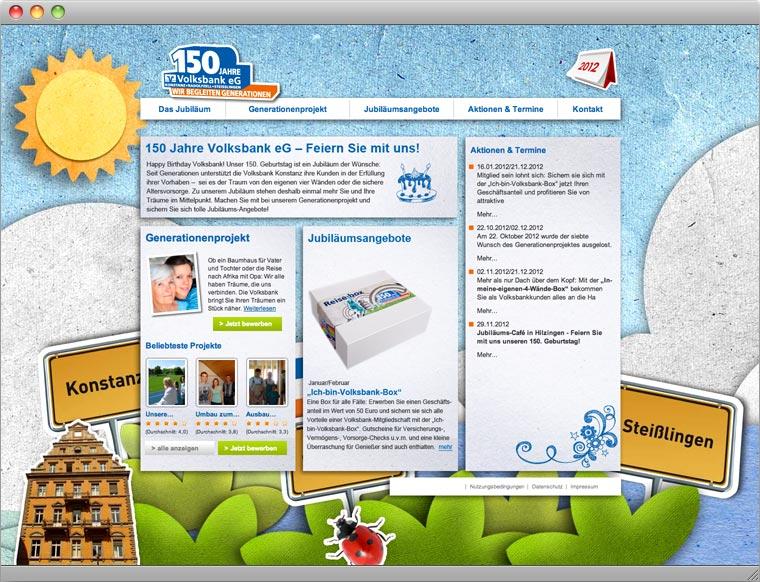 Screenshot Startseite Jubiläums Website 150 Jahre Volksbank eG Konstanz