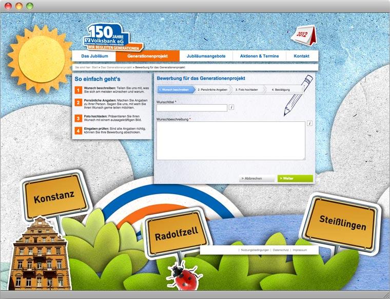 Screenshot Unterseite Jubiläums Website 150 Jahre Volksbank eG Konstanz