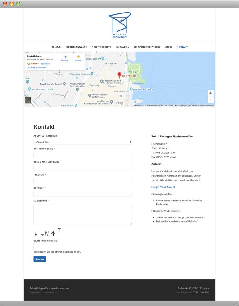 Website Rechtsanwaltskanzlei Bek & Kollegen Konstanz