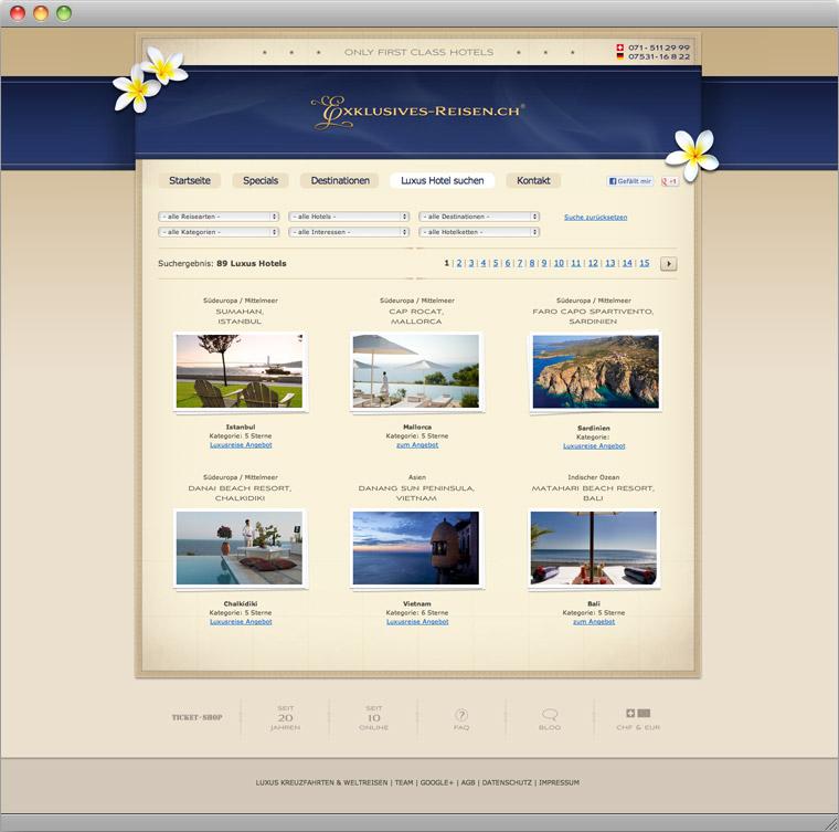 Suchseite für Luxusreise Angebote