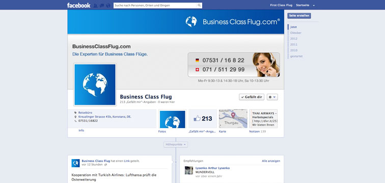 Screenshot Facebook Page von BusinessClassFlug.com