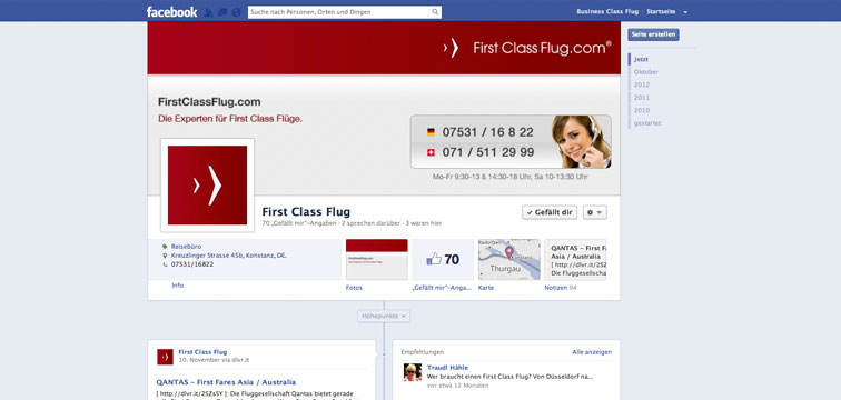 Screenshot Facebook Fanpage von FirstClassFlug.com