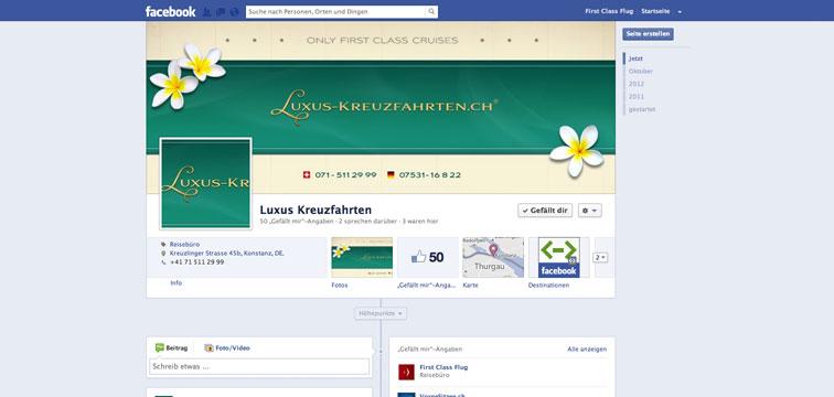 Screenshot Facebook Fanpage von Luxus-Kreuzfahrten.ch