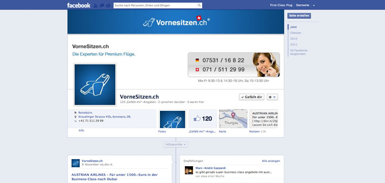 Screenshot Facebook Page Vornesitzen.ch