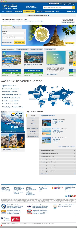 Screenshot der Startseite der HolidayCheck AG