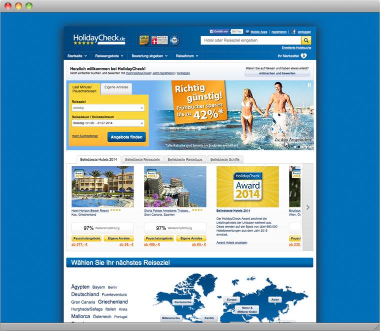 HolidayCheck Startseite