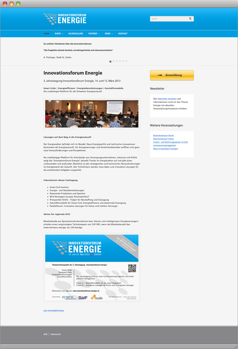 Screenshot Drupal Website Innovationsforum Energie