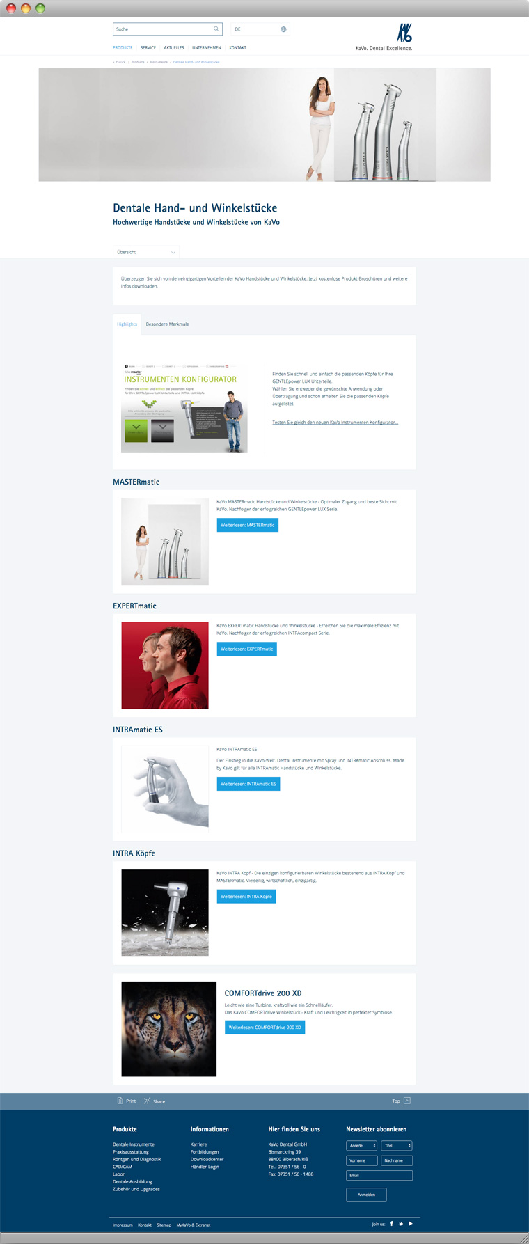 Screenshot KaVo Dental GmbH Hand und Winkelstuecke