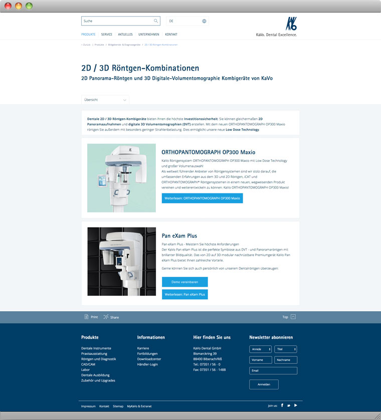 Screenshot KaVo Dental GmbH Roentgenkombis